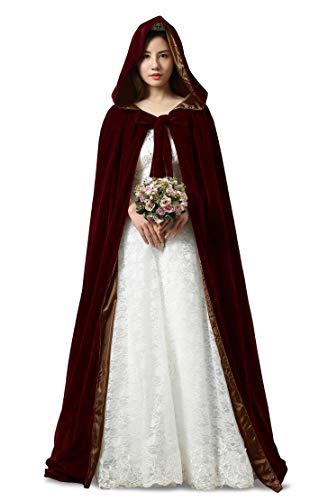 ShineGown Halloween Cosplay Mantel mit Hauben Burgund Lange Damen Hochzeit Braut Kap Mittelalter Kostüm SAMT Unisex Erwachsene Kinder Verrücktes Kleid