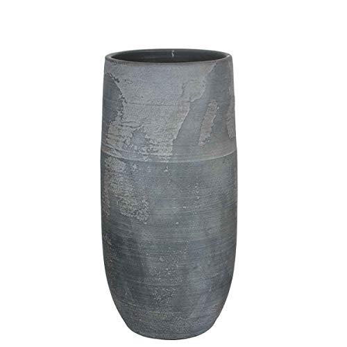 MICA Decorations Deko Vase Ramon Anthrazit Handgemacht - H 55 x Ø 26 cm - Blumenvase - Bodenvase hoch - Hoher Übertopf Innen