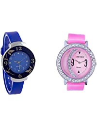 Freny Exim Sophisticated Combo Of Blue And Pink Dial Rubber Strap Analog Watch For Women - For Girls