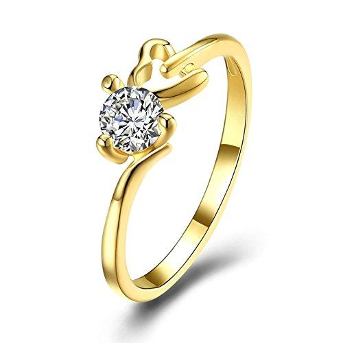 Bishilin Damen Ring Vergoldet Hohl Herz Weiß Kristall Hochzeitsringe Verlobung Ring Gold Größe 57 (18.1)