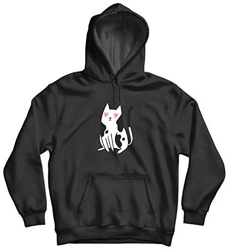 Cat Love In The Eyes_011464 Cute Funny Hoody Sweater Sweatshirt Pullover Present - LG Black Hoodie - Black Forever Hoody Sweatshirt