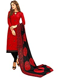 Women'S Red Semi Stitched Embroidered Jacquard Dress Material