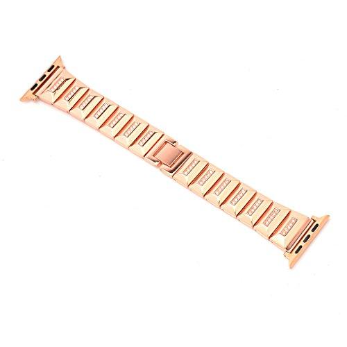Providethebest Strass Kettentyp Armband Smart-Handgelenk-Band-Ersatz-Armband Edelstahl-Gurt f¨¹r iwatch Rose Gold