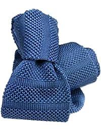 Avantgarde Cravatta in maglia seta tricot tinta unita 6 cm colore azzurro  scuro 13bb6813bf5d