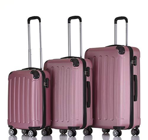 2045 rotelle per valigia da viaggio 3 pezzi set valigetta valigetta Set Trolley rigida in 14 colori, Pink (rosa) - 2045