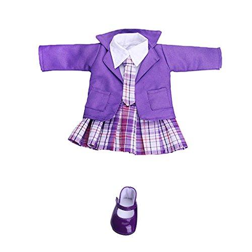 Sharplace 5pcs/ Set Puppenkleidung Zubehör, Puppe Hemd, Rock, Mantel, Krawatte, Schuhe, Schule Uniform Anzug für 18 Zoll American Girl Puppen Dress up (Plaid-kleid Schule)