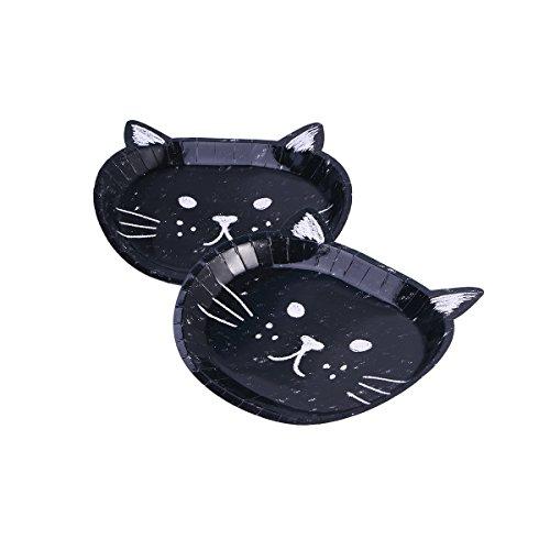 STOBOK 16 stücke Einweg Pappteller Katze Form Geschirr Abendessen Dessert Kuchen Platten für Geburtstag Katze Halloween Party Supplies (Schwarz)
