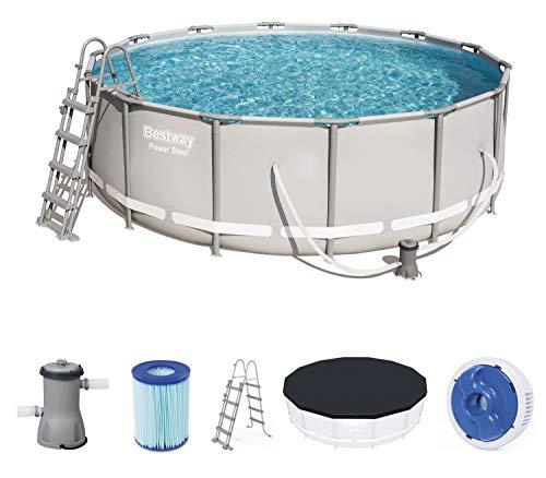 Bestway Power Steel Frame Pool, rund im praktischen Komplett Set, 427 x 427 x 122 cm