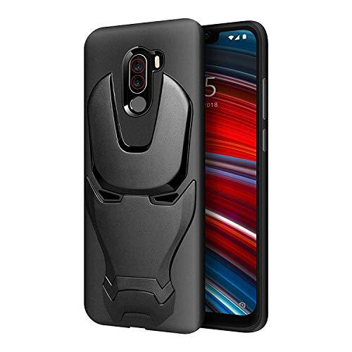 Caresale Silicon Rubberized Coating Full Protection Marvel Avengers Iron Man Back Case Cover for Xiaomi Redmi Mi Poco F1 (Black)