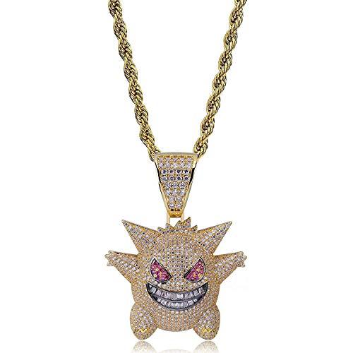 Jiaxingo Pokemon Halskette Hip Hop Iced Out Strass Kristall Halskette Diamant Halskette mit 24