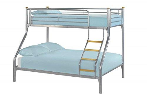 Litera para tres personas, cama individual de 91 cm y cama familiar de 137 cm, con peldaños de madera, color plateado