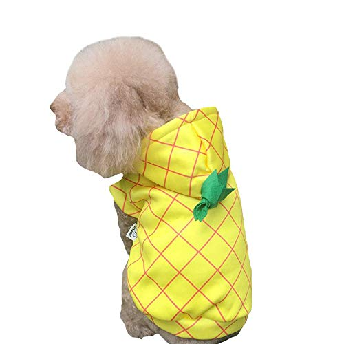 Kostüm Wettbewerb - DELIFUR Ananas-Kostüm Hund Halloween Kostüm für kleine bis mittelgroße Hunde, L