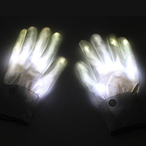 (Bloomma LED Handschuhe, 1Paar gestrickte Nylon Finger Lights Handschuhe für Weihnachten Halloween-Kostüm Party Neuheit Toys Gastgeschenken weiß)