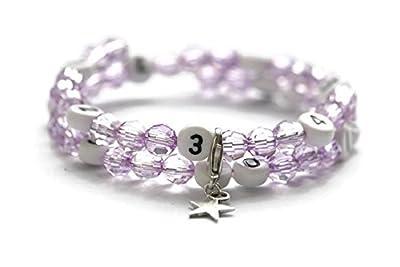 Bracelet d'allaitement de couleur violet avec perles à facettes en acrylique