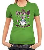 ShirtStreet Gaudi Wiesn Damen Frauen T-Shirt Rundhals Oktoberfest - MEI Dirndl hob i ned gfundn, Größe: L,apfelgrün