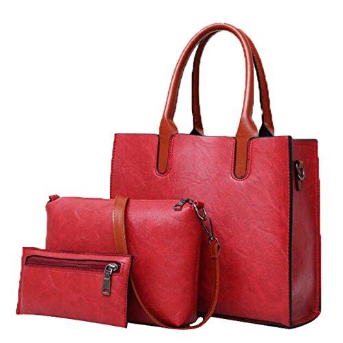 Damen 3 Stück Schultertaschen Top-Griff Handtasche Tote Geldbörse Set,Red-M (Griff Glatte Handtasche)
