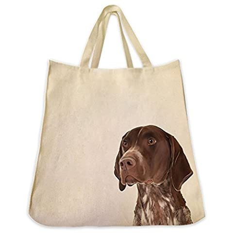 German Shorthair Pointer Dog Portrait Design Extra Large Eco Friendly Cotton Twill Tote Bag