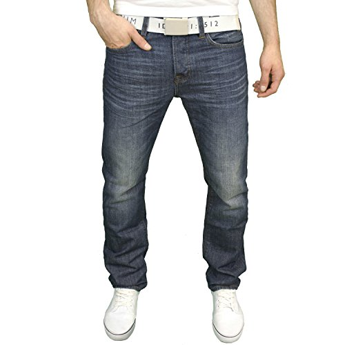 Smith & Jones Herren Designer Marken Regular Fit Jeans W/gratis Gürtel Stone Wash