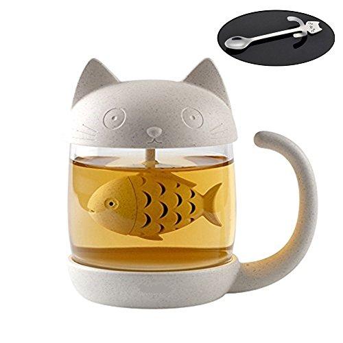 Katze Glas Tee Becher Wasserflasche mit mit Fisch Tee Infuser Sieb Filter mit Edelstahl Kaffeelöffel Mini Katze 250ML Fisch Tee