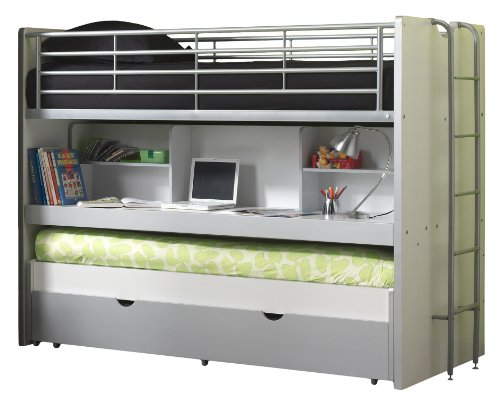 Price comparison product image 'Vipack BOHS8009 Bunk Beds Bonny, 207 x 116 x 98 cm, lying surface 90 x 200 cm, White/Silver Grey