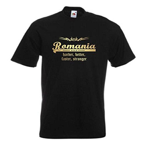 T-Shirt Rumänien ROMANIA harder better faster stronger, schwarzes Ländershirt, Fanshirt, Baumwolle, golddruck, Übergrößen bis 12XL (WMS07-51a) Schwarz