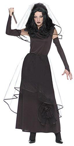 Karneval-Klamotten Zombie Braut Kostüm Horror Braut Kostüm Gothic Braut Kostüm Damen Braut Kostüm Halloween Damenkostüm schwarze Witwe inkl. Schleier + Handschuhe 36/38