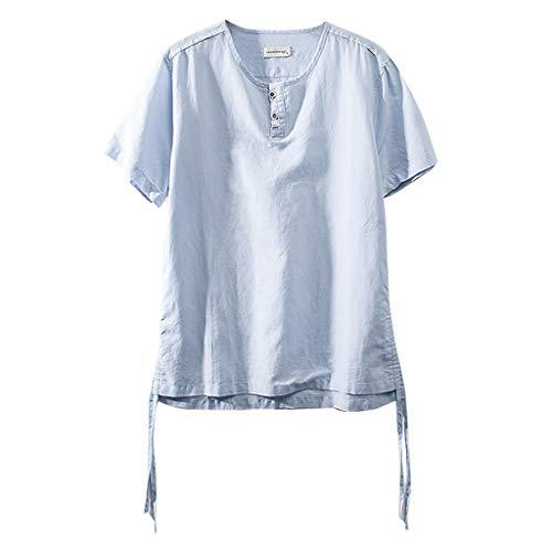 Eaylis Herren T-Shirt Tops LäSsige, Gerade Geschnittene Oberteile Aus Baumwolle Und Leinen Mit Kurzen ÄRmeln Im Chinesischen Stil