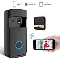 Jingfude Wireless Campanello Sistema Interfono Video Intelligente Telecamera HD 720p con 3 Batterie per Consumo Energia Standby Lunga Durata per Casa, Negozio, Ufficio, Villa, Appartamento