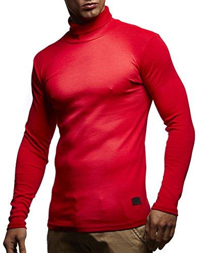 Herren Rollkragenpullover Pullover Rollkragen Hoodie T-Shirt Slim Fit (L, Rot) (Hose Roten Pullover)