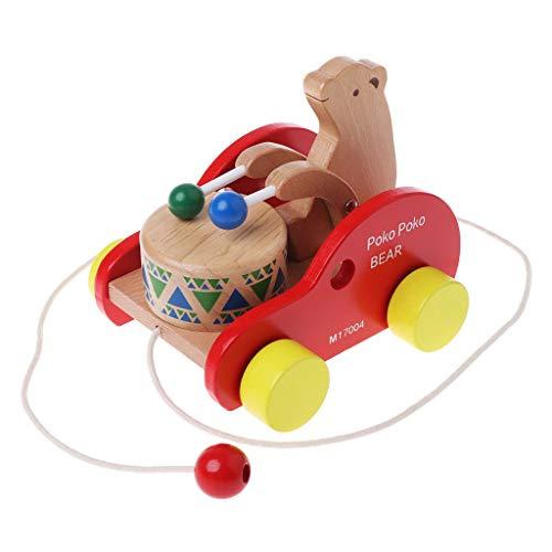 JAGENIE Bär Drum Massivholz Pull Spielzeug Holz Pull entlang Spielzeug Kinder Educational Tier Spielzeug