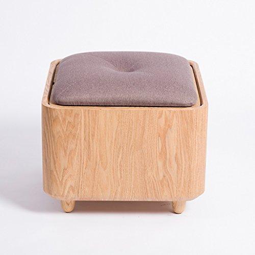 Tabouret de stockage de tissu de tabouret de chaussures de bois massif de cendres de Mandchourie polyvalent peut prendre le bureau minimaliste créatif de tabouret ( Color : Purple )