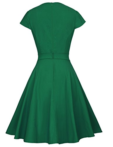Belle Poque Rockabilly Kleid Petticoat Kleid Damen Knielang Sommerkleider BP361 BP361-4(Grün)
