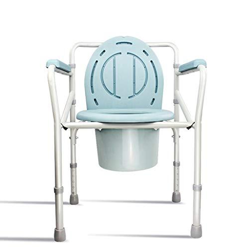 TYUIO Tragbare Toilette, Deluxe-Toilettenstuhl, Drop-Arm-Kommode für einfache Übertragungen, Stahlkommode am Bett, Easy No Tool Assembly, Weiß -