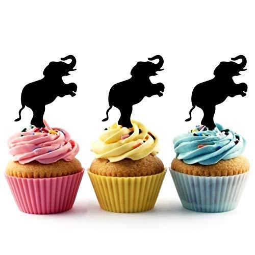 Innovedesire Elephant Circus Kuchenaufsätze Hochzeit Geburtsta Acryl Dekor Cupcake Kuchen Topper Stand für Kuchen Party Dekoration 10 Stück