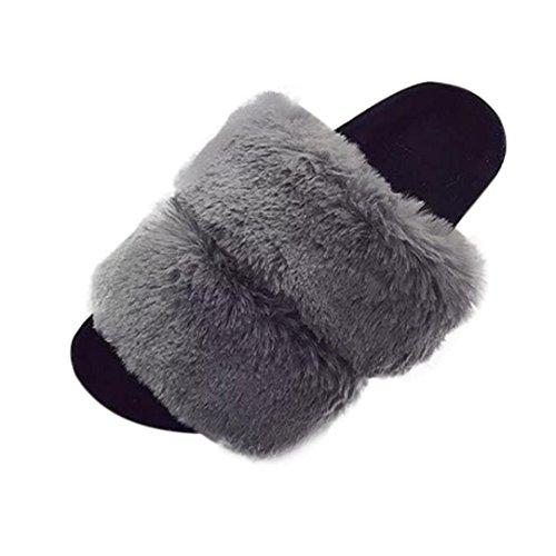 Kaninchen Pelz Mokassins (VENMO Damen Slipper Womens Flat Rutschfeste Weiche Flauschige PU Faux Pelz Flache Slipper Flip Flop Sandale (Size 38, Grey))