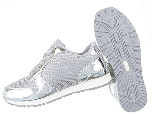 Damen Schuhe Freizeitschuhe Sportschuhe Sneakers Turnschuhe Silber Silber