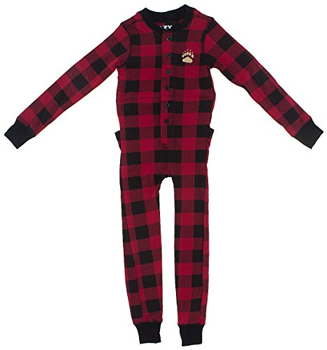 Lazy One Schlafanzug Flapjacks Erwachsene (Red Plaid Bär Wangen) Rot - Red Plaid Bear Cheeks
