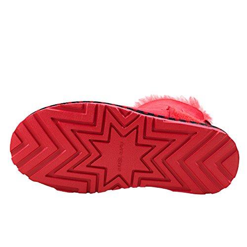 Shenduo Damen Stiefel Kurzschaft Schlupfstiefel Warm Winterschuhe Schleifen Boots D5079 Rot
