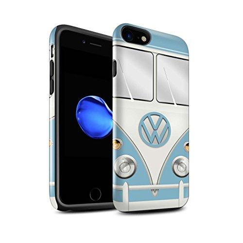 STUFF4 Glanz Harten Stoßfest Hülle / Case für Apple iPhone 7 / Fjord Blau Muster / Retro T1 Wohnmobil Bus Kollektion Fjord Blau