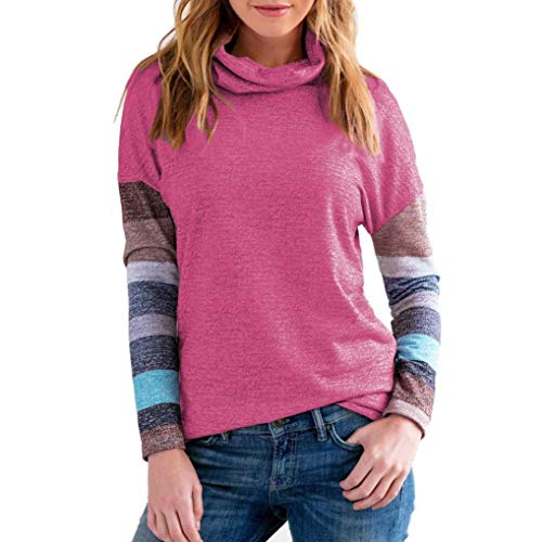 MEIbax Damen langärmelige Stehkragen Sweatshirt Pullover Tops Bluse Tunika Langarmshirt Strickjacke Cardigan Kaschmir Pullover