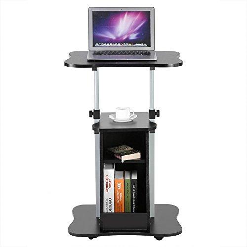 Zerone tavolo da computer portatile regolabile con ruote, scrivania porta pc tavolino da letto supporto portabile tavolino altezza carrello compatto per lavoro studio