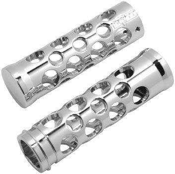 Battistinis Chrome Billet Round Holes Griffe Harley Davidson Dual Cable - Round-hole Grips
