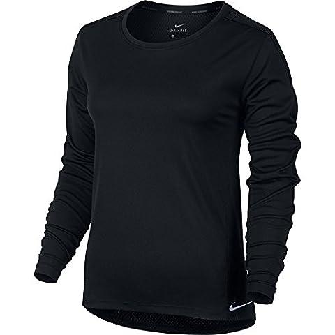 NIKE Dry Top Ls Core à manches longues, Black/reflective silver, XL