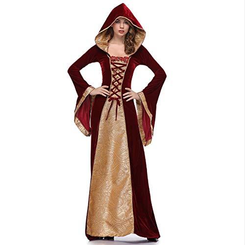 XIANGHUI Halloween Gericht Aristokratische Königin Kostüm, Punk Gothic Mittelalter Gericht Kapuzen Kleid, Party Karneval, Cosplay Party Königin (Erwachsene Bösen Zauberin Halloween Kostüme)