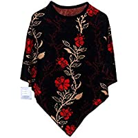 Woolly Women's Pullover Cardigan Ponchoes (Black_Free Size)