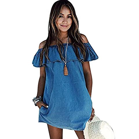 Women Off Shoulder T-Shirt Dress Boho Mini Shirt Strapless Casual Beach Long Top Blouse + 1 Free Black Lace Mask for