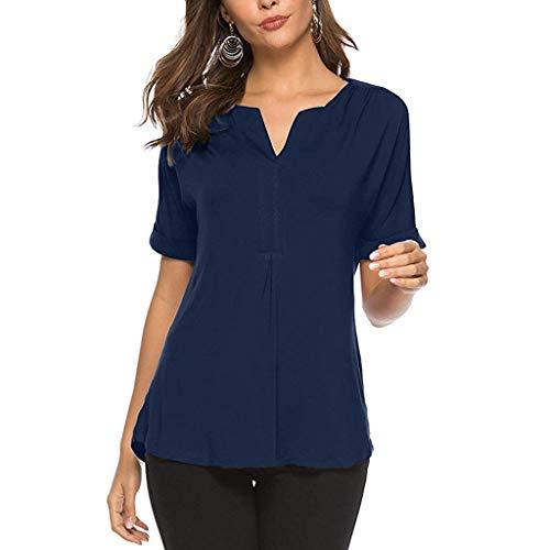 LEXUPE Damen Sommer Kurzarm Solide V-Ausschnitt Tops T-Shirt Top Bluse Damen FrüHling Und Sommer T-Shirt Mit V-Ausschnitt Und Kurzen ÄRmeln