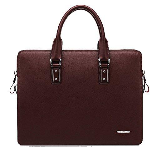 YAAGLE Echtes Leder Herren Rindleder Schultertasche Freizeit Handtasche Aktentasche Business Taschen-blue and red red