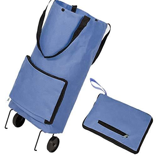 GAOYI Faltbare Einkaufstasche mit Rädern Faltbare Einkaufstasche Einkaufswagen Einkaufswagen Wiederverwendbare Einkaufstasche Lebensmittel Faltbarer Einkaufswagen (Blau) (Einkaufstasche Faltbare Rädern Mit)