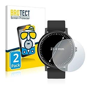 BROTECT 2X Entspiegelungs-Schutzfolie kompatibel mit Armbanduhren (Kreisrund, Durchmesser: 23 mm) Matt, Anti-Reflex, Anti-Fingerprint